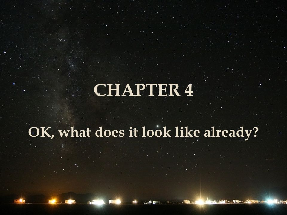 CHAPTER 4 OK, what does it look like already