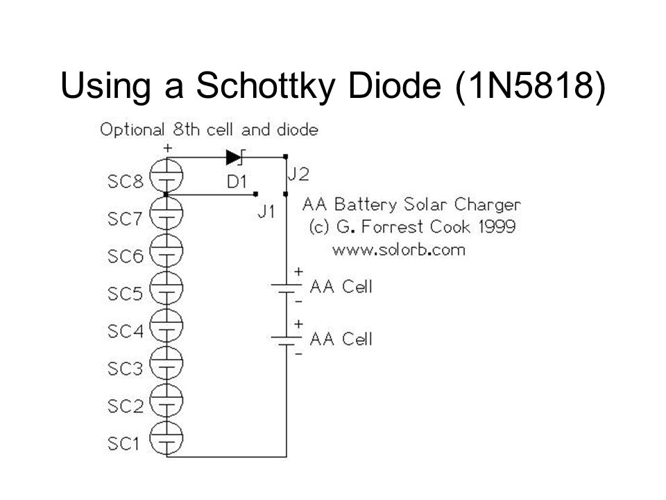 Using a Schottky Diode (1N5818) Introduction This almost trivial circuit may be used to charge a pair of AA or AAA sized rechargeable battery cells from sunlight.