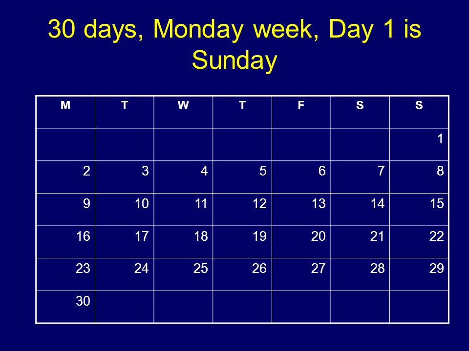 30 days, Monday week, Day 1 is Sunday MTWTFSS 1 2345678 9101112131415 16171819202122 23242526272829 30 Copyright 2008 Dave Paradi. All rights reserved