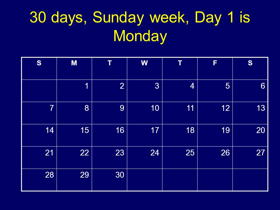 30 days, Sunday week, Day 1 is Monday SMTWTFS 123456 78910111213 14151617181920 21222324252627 282930 Copyright 2008 Dave Paradi. All rights reserved