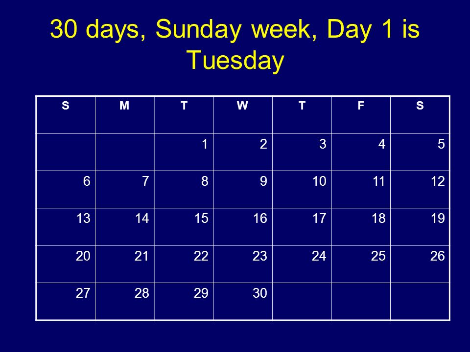 30 days, Sunday week, Day 1 is Tuesday SMTWTFS 12345 6789101112 13141516171819 20212223242526 27282930 Copyright 2008 Dave Paradi. All rights reserved