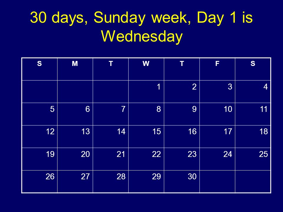 30 days, Sunday week, Day 1 is Wednesday SMTWTFS 1234 567891011 12131415161718 19202122232425 2627282930 Copyright 2008 Dave Paradi. All rights reserv