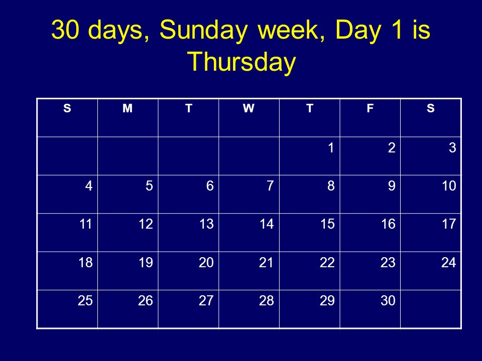 30 days, Sunday week, Day 1 is Thursday SMTWTFS 123 45678910 11121314151617 18192021222324 252627282930 Copyright 2008 Dave Paradi. All rights reserve