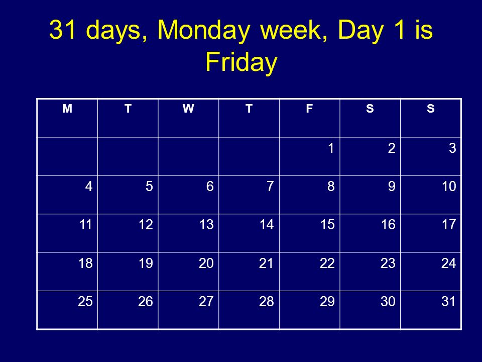 31 days, Monday week, Day 1 is Friday MTWTFSS 123 45678910 11121314151617 18192021222324 25262728293031 Copyright 2008 Dave Paradi. All rights reserve