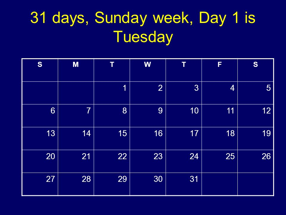 31 days, Sunday week, Day 1 is Tuesday SMTWTFS 12345 6789101112 13141516171819 20212223242526 2728293031 Copyright 2008 Dave Paradi. All rights reserv
