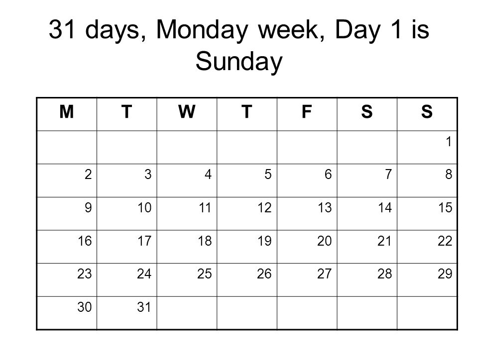 31 days, Monday week, Day 1 is Sunday MTWTFSS 1 2345678 9101112131415 16171819202122 23242526272829 3031 Copyright 2008 Dave Paradi. All rights reserv