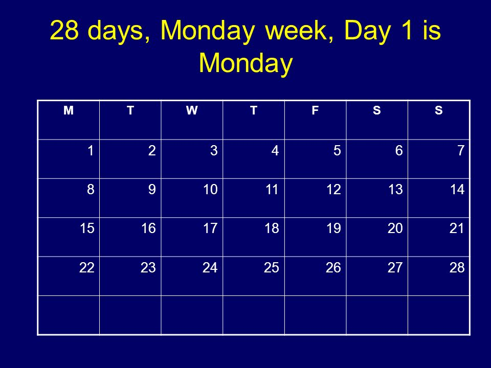 28 days, Monday week, Day 1 is Monday MTWTFSS 1234567 891011121314 15161718192021 22232425262728 Copyright 2008 Dave Paradi. All rights reserved