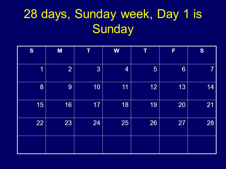 28 days, Sunday week, Day 1 is Sunday SMTWTFS 1234567 891011121314 15161718192021 22232425262728 Copyright 2008 Dave Paradi. All rights reserved