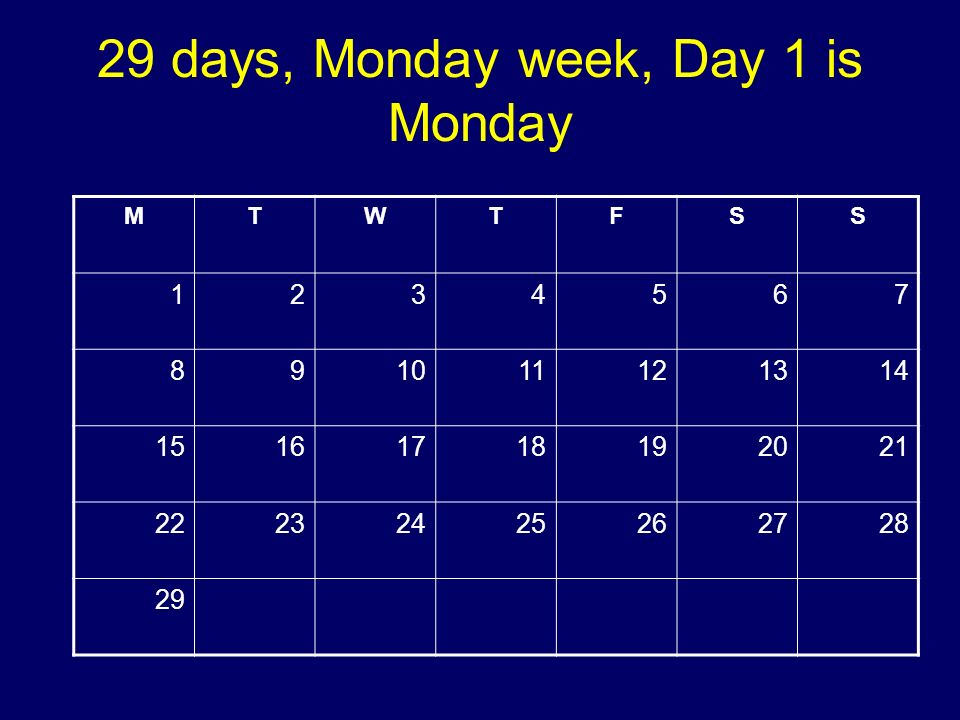 29 days, Monday week, Day 1 is Monday MTWTFSS 1234567 891011121314 15161718192021 22232425262728 29 Copyright 2008 Dave Paradi. All rights reserved