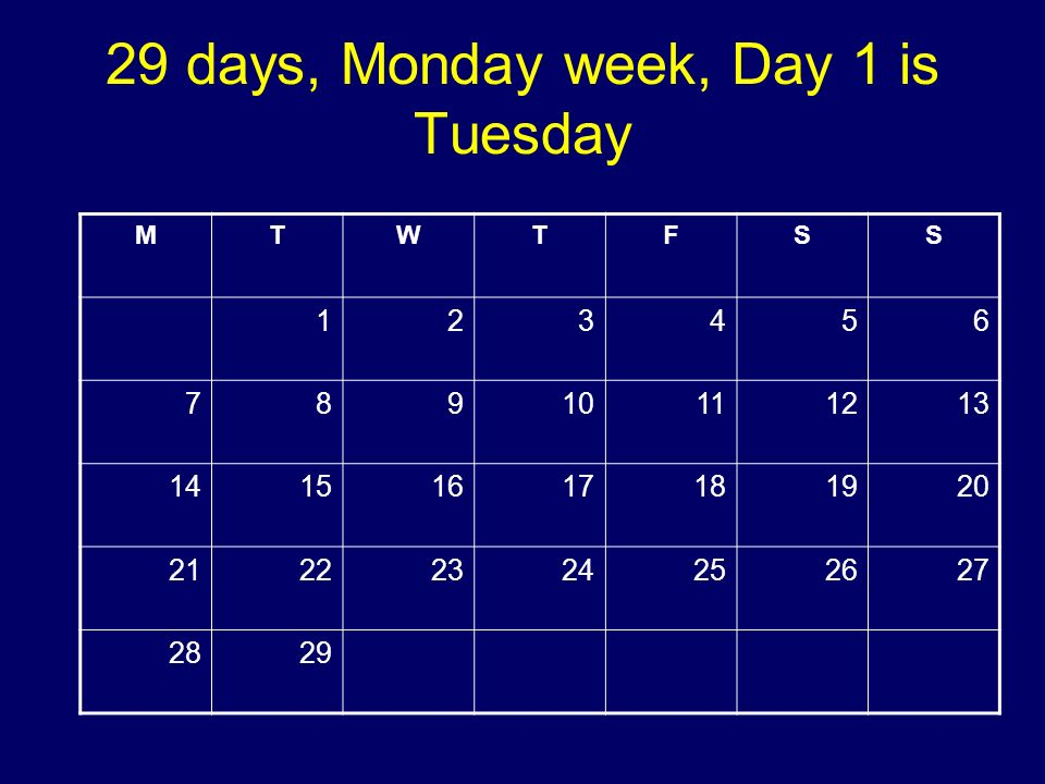 29 days, Monday week, Day 1 is Tuesday MTWTFSS 123456 78910111213 14151617181920 21222324252627 2829 Copyright 2008 Dave Paradi. All rights reserved