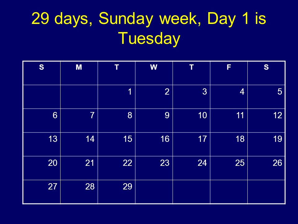 29 days, Sunday week, Day 1 is Tuesday SMTWTFS 12345 6789101112 13141516171819 20212223242526 272829 Copyright 2008 Dave Paradi. All rights reserved