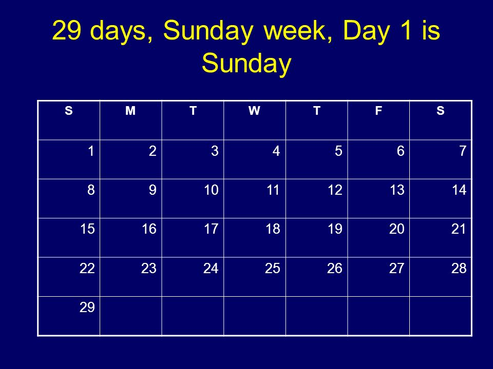 29 days, Sunday week, Day 1 is Sunday SMTWTFS 1234567 891011121314 15161718192021 22232425262728 29 Copyright 2008 Dave Paradi. All rights reserved