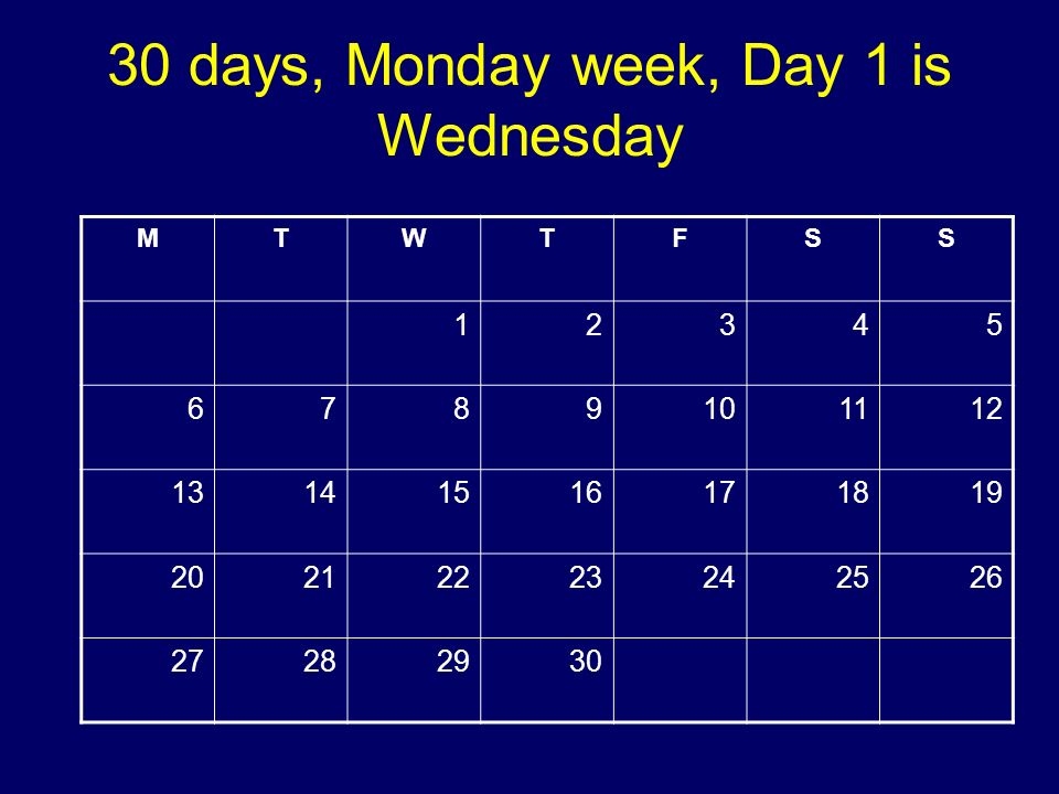 30 days, Monday week, Day 1 is Wednesday MTWTFSS 12345 6789101112 13141516171819 20212223242526 27282930 Copyright 2008 Dave Paradi. All rights reserv