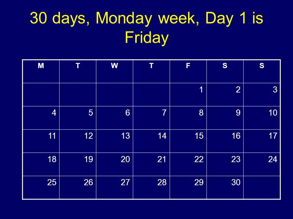 30 days, Monday week, Day 1 is Friday MTWTFSS 123 45678910 11121314151617 18192021222324 252627282930 Copyright 2008 Dave Paradi. All rights reserved