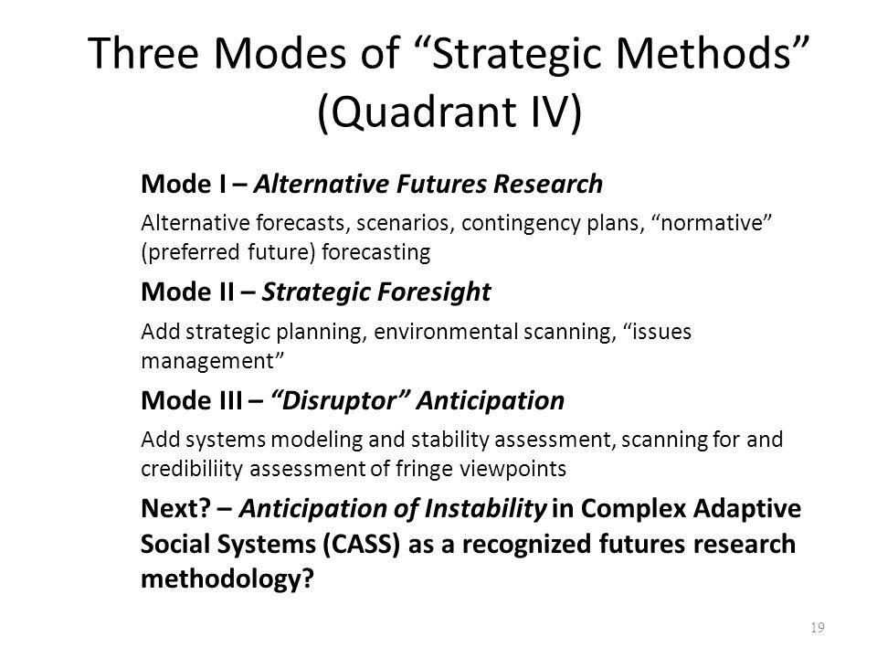 Three Modes of Strategic Methods (Quadrant IV) 19 Mode I – Alternative Futures Research Alternative forecasts, scenarios, contingency plans, normative