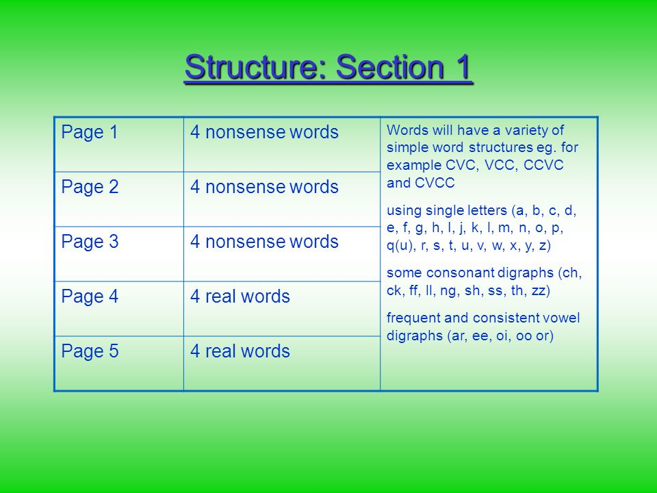 Structure: Section 1 Page 14 nonsense words Words will have a variety of simple word structures eg.