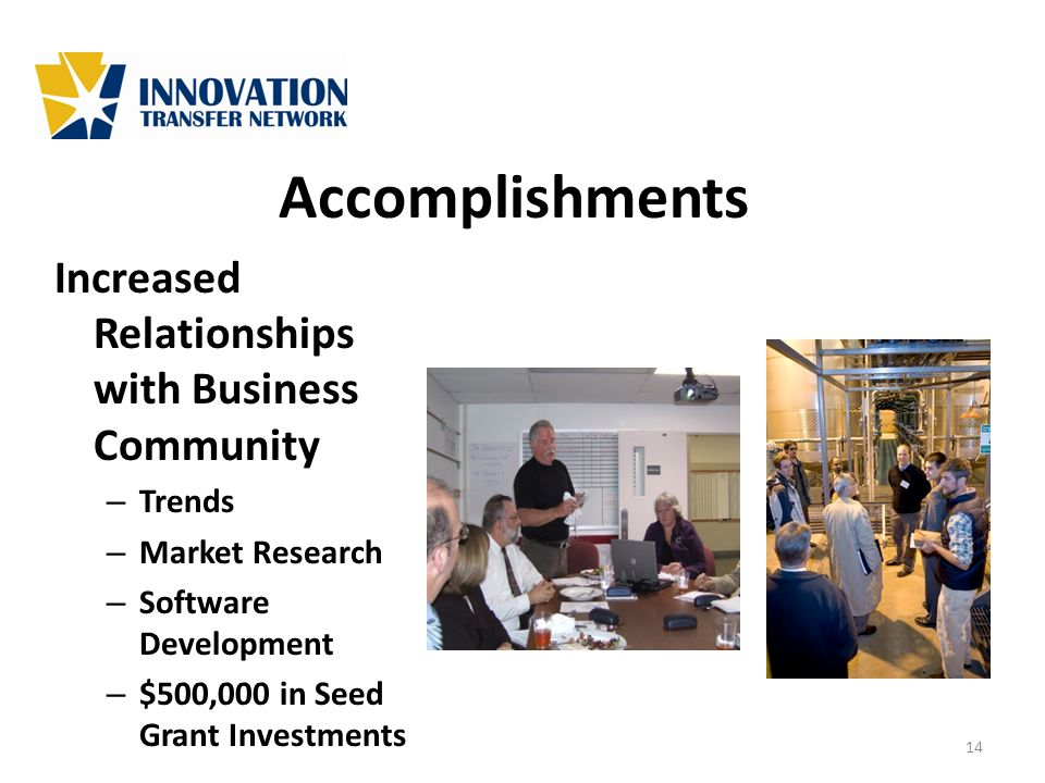 Accomplishments Increased Relationships with Business Community – Trends – Market Research – Software Development – $500,000 in Seed Grant Investments
