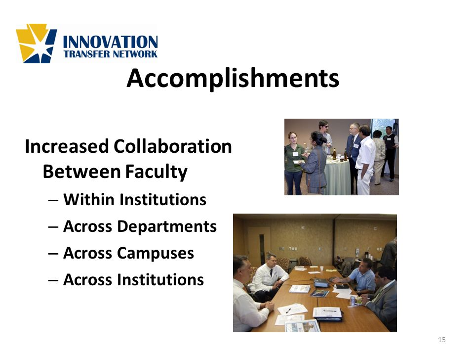 Accomplishments Increased Collaboration Between Faculty – Within Institutions – Across Departments – Across Campuses – Across Institutions 15