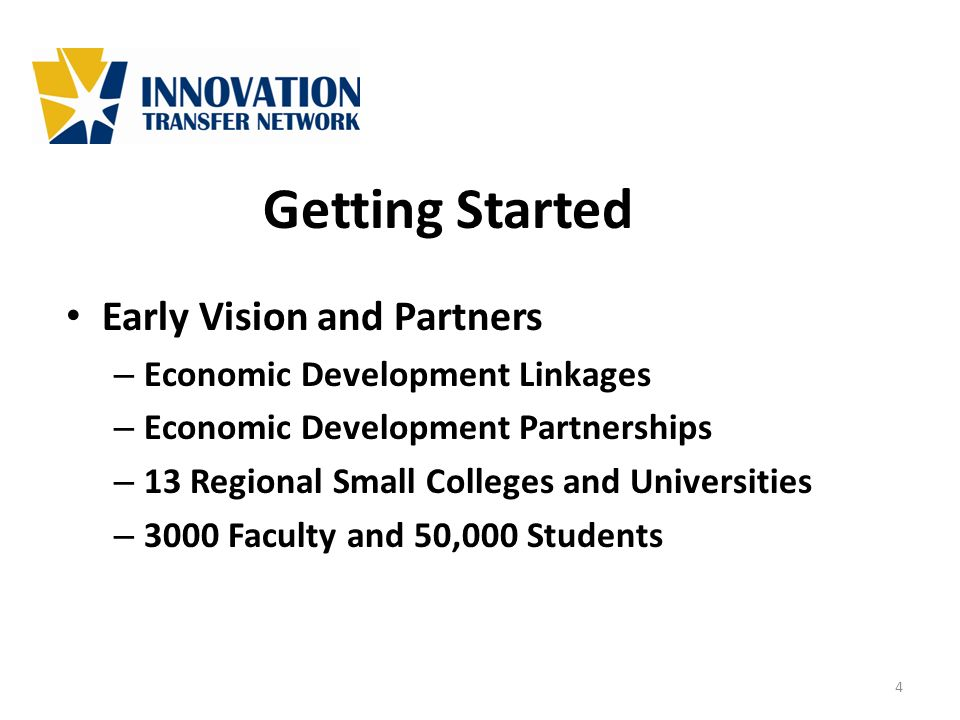 Getting Started Early Vision and Partners – Economic Development Linkages – Economic Development Partnerships – 13 Regional Small Colleges and Univers