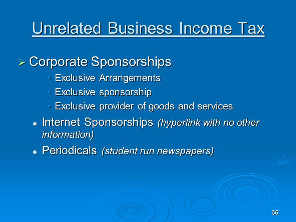 34 Unrelated Business Income Tax Corporate Sponsorships Corporate Sponsorships Advertising not per se a return benefitAdvertising not per se a return