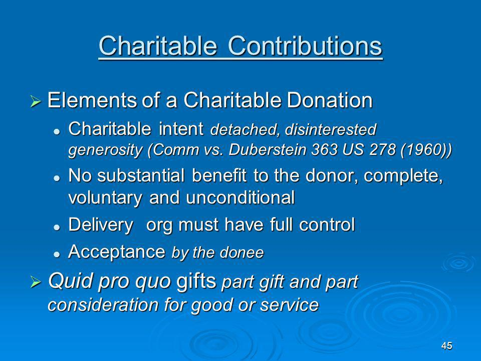 45 Charitable Contributions Elements of a Charitable Donation Elements of a Charitable Donation Charitable intent detached, disinterested generosity (Comm vs.