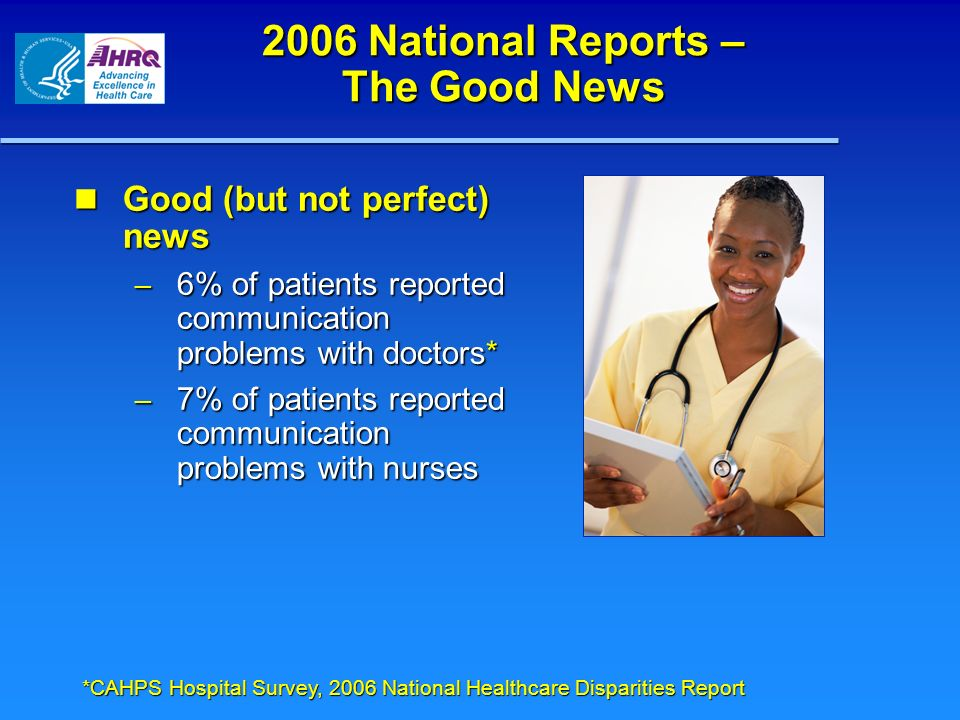 2006 National Reports – The Good News Good (but not perfect) news Good (but not perfect) news – 6% of patients reported communication problems with do