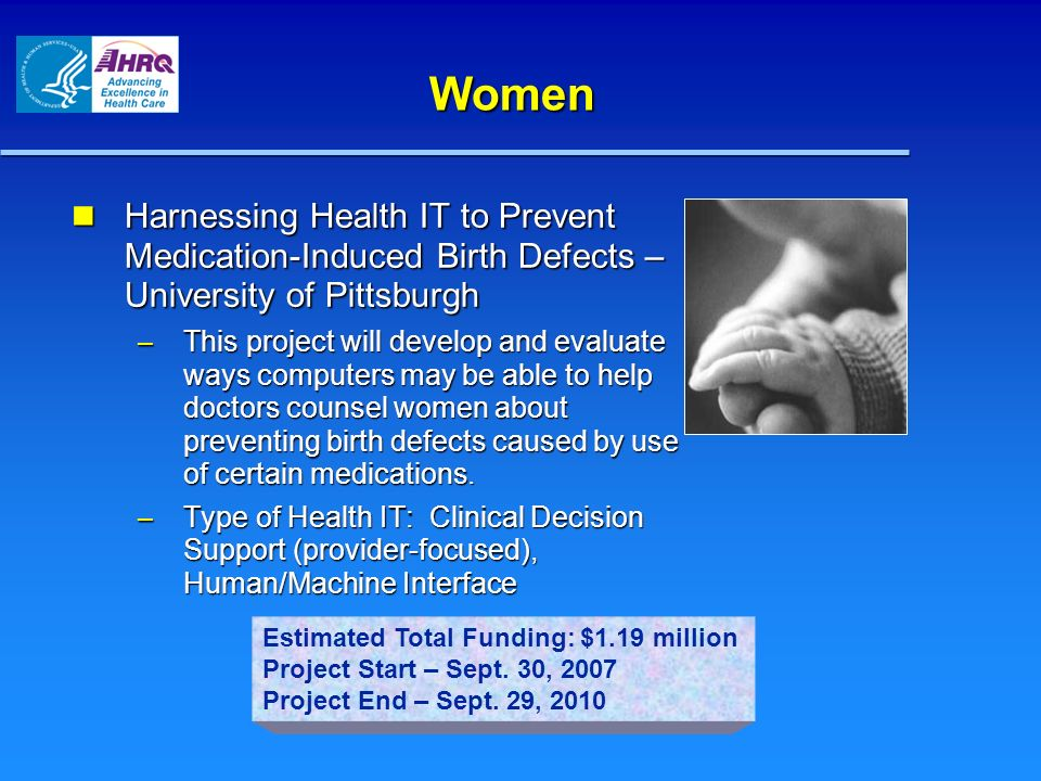 Women Harnessing Health IT to Prevent Medication-Induced Birth Defects – University of Pittsburgh Harnessing Health IT to Prevent Medication-Induced B