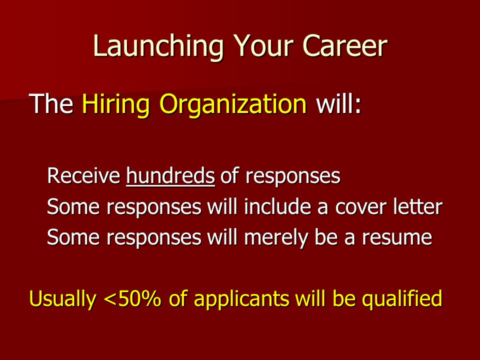 Launching Your Career The Hiring Organization will: Receive hundreds of responses Some responses will include a cover letter Some responses will merel