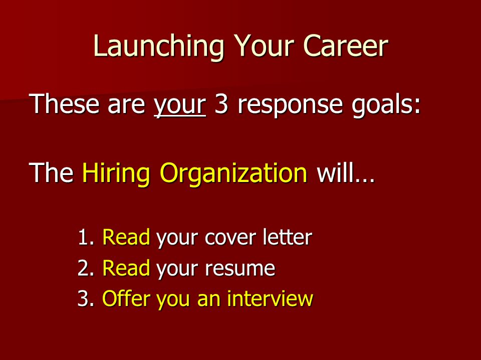 Launching Your Career These are your 3 response goals: The Hiring Organization will… 1. Read your cover letter 2. Read your resume 3. Offer you an int