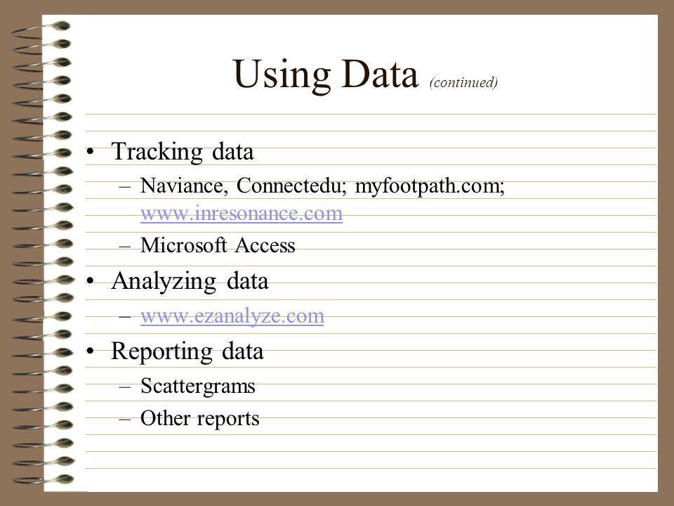 Using Data (continued) Tracking data –Naviance, Connectedu; myfootpath.com; www.inresonance.com www.inresonance.com –Microsoft Access Analyzing data –