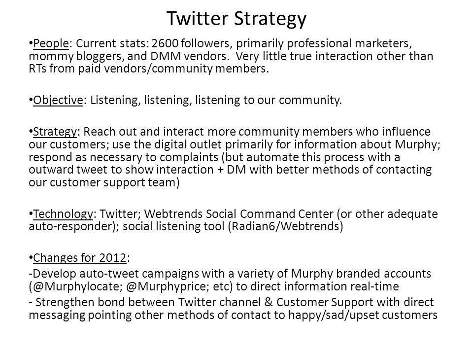 Twitter Strategy People: Current stats: 2600 followers, primarily professional marketers, mommy bloggers, and DMM vendors. Very little true interactio