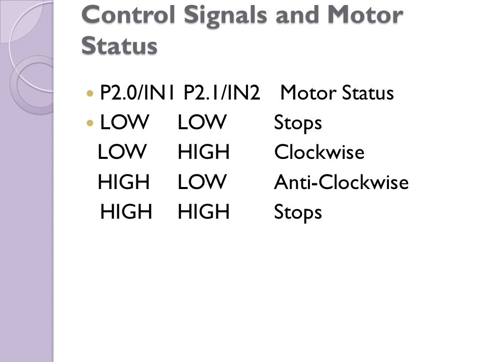 Control Signals and Motor Status P2.0/IN1 P2.1/IN2 Motor Status LOW LOW Stops LOWHIGH Clockwise HIGH LOW Anti-Clockwise HIGH HIGH Stops