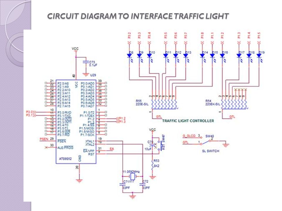 CIRCUIT DIAGRAM TO INTERFACE TRAFFIC LIGHT