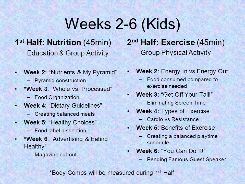 Weeks 2-6 (Kids) 1 st Half: Nutrition (45min) Education & Group Activity Week 2: Nutrients & My Pyramid –Pyramid construction *Week 3: Whole vs. Proce