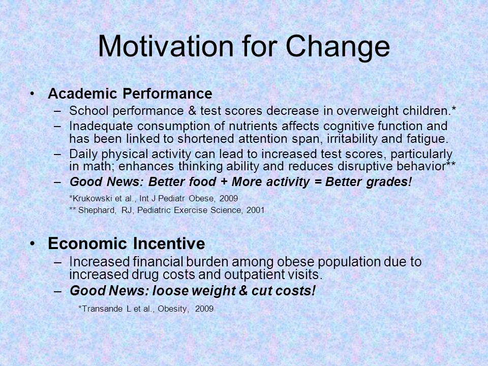 Motivation for Change Academic Performance –School performance & test scores decrease in overweight children.* –Inadequate consumption of nutrients af