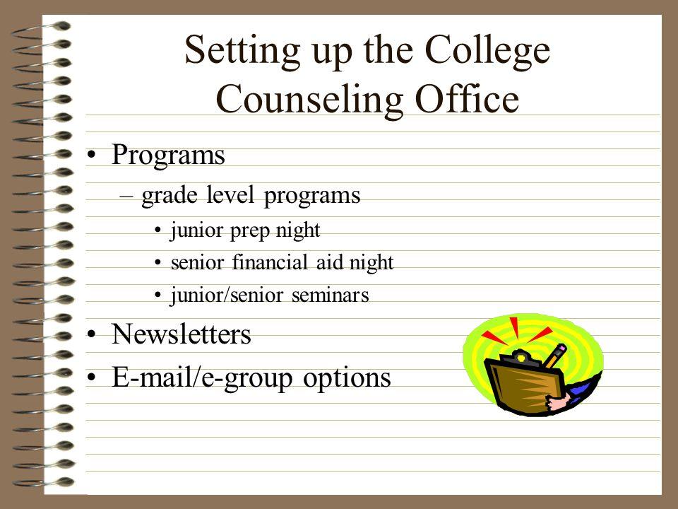 Setting up the College Counseling Office Programs –grade level programs junior prep night senior financial aid night junior/senior seminars Newsletter