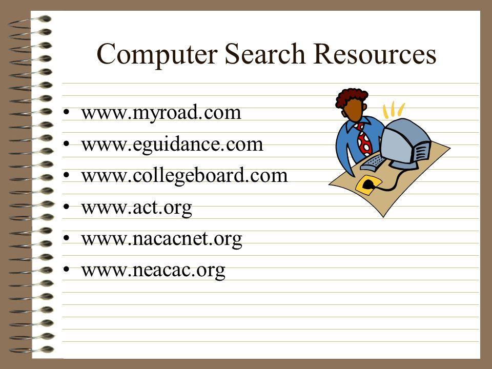 Computer Search Resources www.myroad.com www.eguidance.com www.collegeboard.com www.act.org www.nacacnet.org www.neacac.org