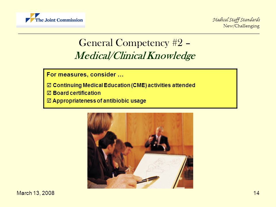 March 13, 200814 Medical Staff Standards New/Challenging _____________________________________________________________________________________________