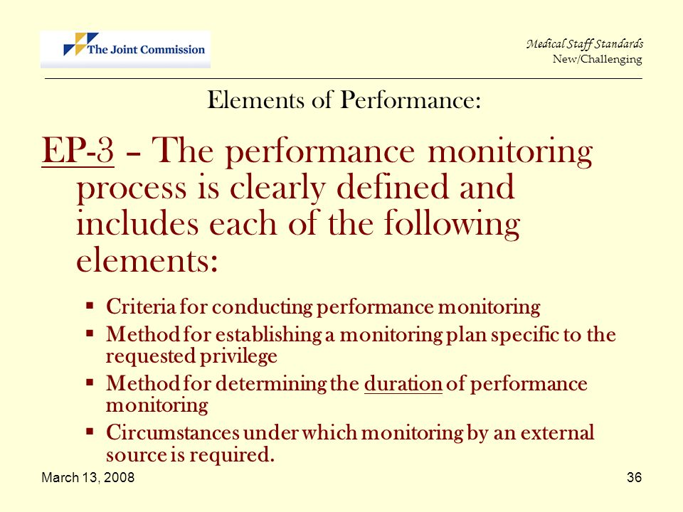 March 13, 200836 Medical Staff Standards New/Challenging _____________________________________________________________________________________________