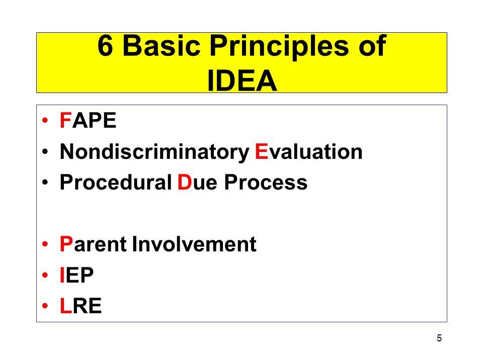 5 6 Basic Principles of IDEA FAPE Nondiscriminatory Evaluation Procedural Due Process Parent Involvement IEP LRE