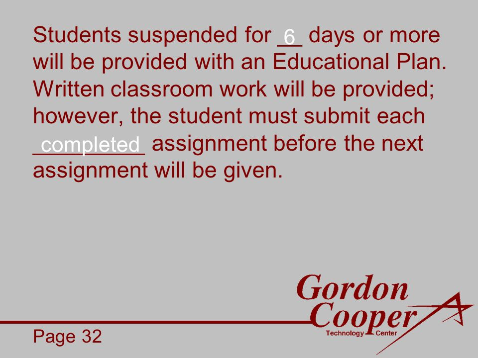Students suspended for __ days or more will be provided with an Educational Plan.