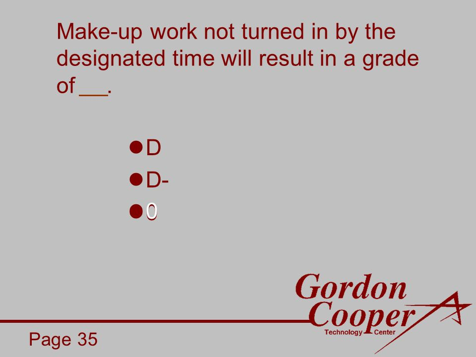 Make-up work not turned in by the designated time will result in a grade of. Page 35 D D- 0 0