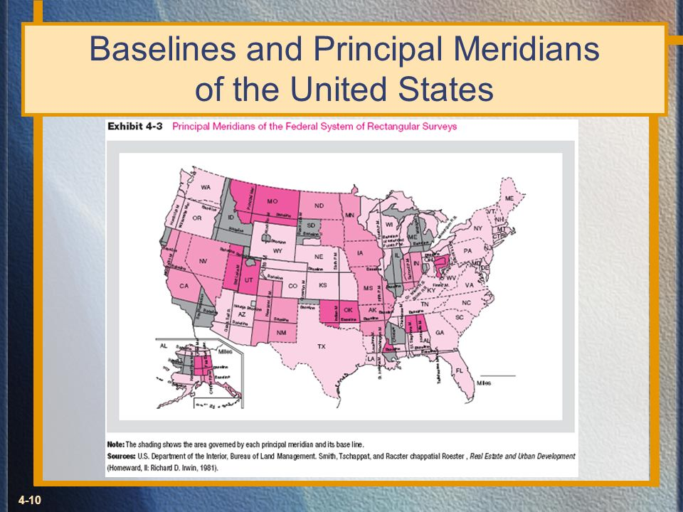 4-10 Baselines and Principal Meridians of the United States