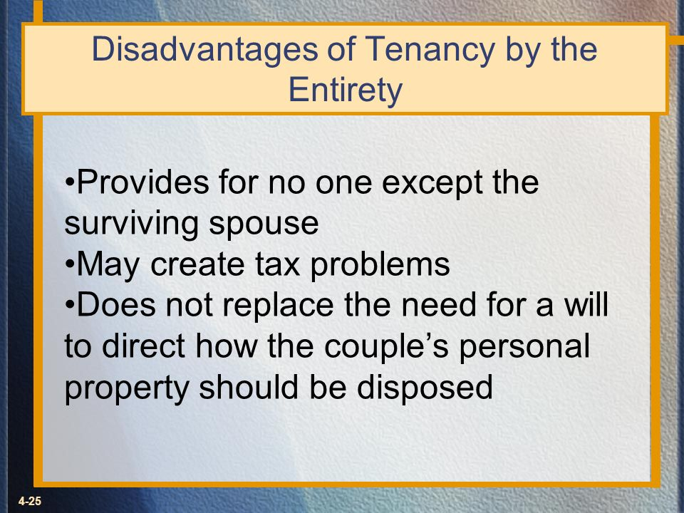 4-25 Disadvantages of Tenancy by the Entirety Provides for no one except the surviving spouse May create tax problems Does not replace the need for a