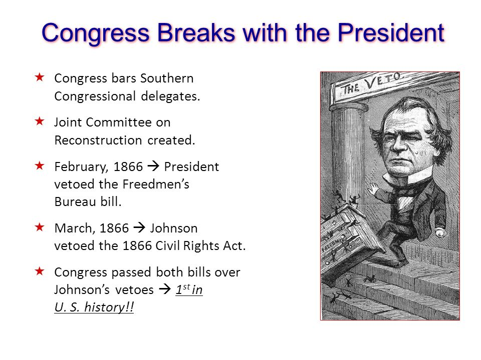 Congress Breaks with the President Congress bars Southern Congressional delegates. Joint Committee on Reconstruction created. February, 1866 President