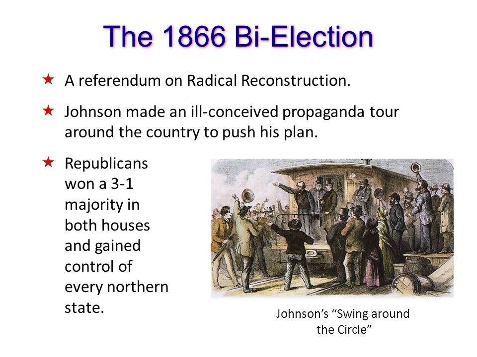 The 1866 Bi-Election Johnsons Swing around the Circle A referendum on Radical Reconstruction. Johnson made an ill-conceived propaganda tour around the