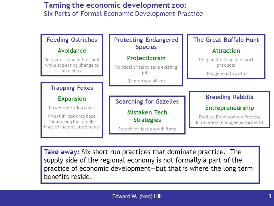Edward W. (Ned) Hill3 Taming the economic development zoo: Six Parts of Formal Economic Development Practice Take away: Six short run practices that d
