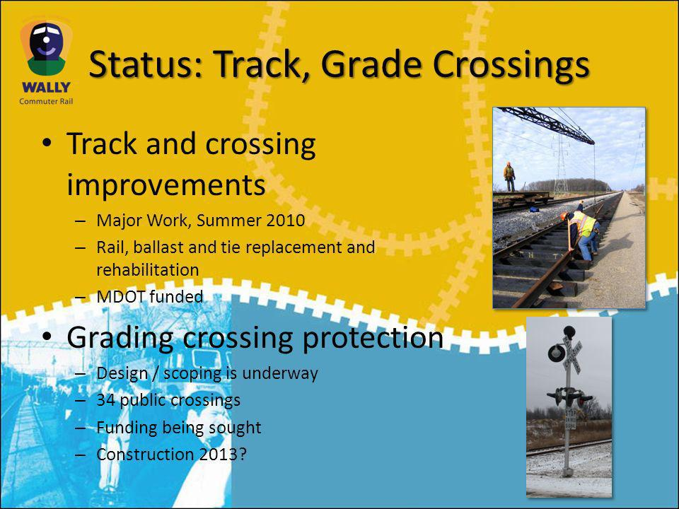 Status: Track, Grade Crossings Track and crossing improvements – Major Work, Summer 2010 – Rail, ballast and tie replacement and rehabilitation – MDOT funded Grading crossing protection – Design / scoping is underway – 34 public crossings – Funding being sought – Construction 2013