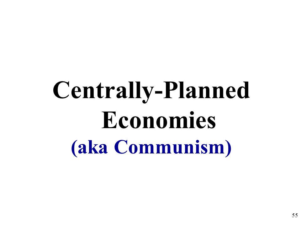 Economic Systems 1.Centrally-Planned (Command) Economy 2.Free Market Economy 3.Mixed Economy 54