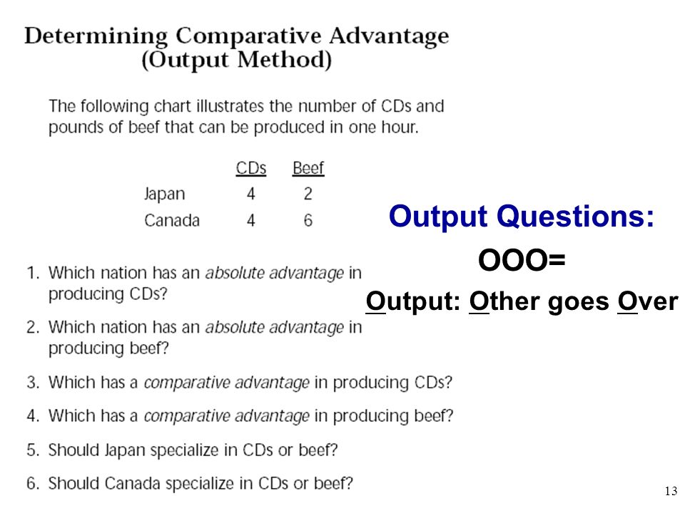 Output Questions: OOO= Output: Other goes Over 13